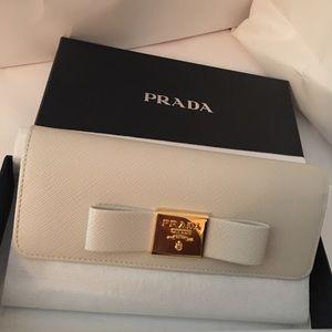 NEW PRADA Saffiano FIOCCO Wallet Cream 1MH132 NEW